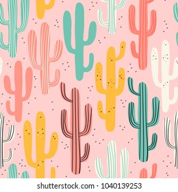 Long multicolored cacti on pink background. Seamless pattern with lovely cactus in vector.