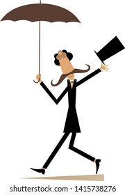 Long mustache man in the top hat walking with umbrella isolated on white illustration
