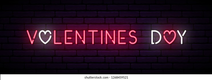 Long neon banner for Valentines Day. Vector light signboard.