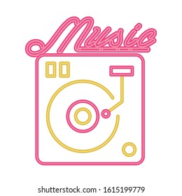 long play player with music lettering vector illustration design