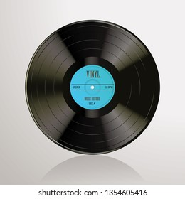 Long play vinyl record with blue editable label, vector realistic illustration