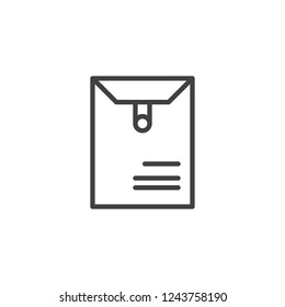 Long postal envelope outline icon. linear style sign for mobile concept and web design. Dossier envelope simple line vector icon. Symbol, logo illustration. Pixel perfect vector graphics