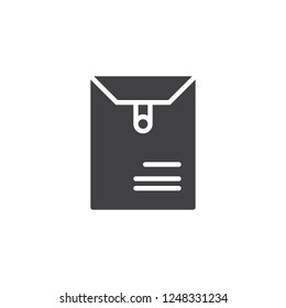 Long postal envelope vector icon. filled flat sign for mobile concept and web design. Dossier envelope simple solid icon. Symbol, logo illustration. Pixel perfect vector graphics