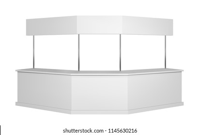 Long promotion counter mockup. Isolated vector retail trade stand.