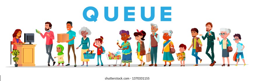 Long Queue In Food Store, Vector Banner Concept. Young And Old People Waiting In Queue, Line. Men, Women And Children Cartoon Characters. Shop Sale, Customer Service Flat Illustration