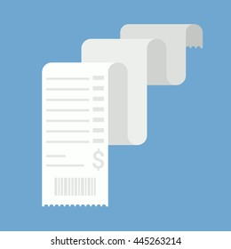 Long receipt. Simple, flat style. Graphic vector illustration.