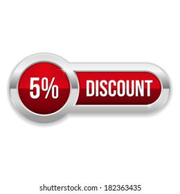 Long red fifty percent discount button with metallic border