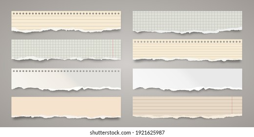 Long ripped colorful paper strips. Realistic crumpled paper scraps with torn edges. Lined shreds of notebook pages. Vector illustration.