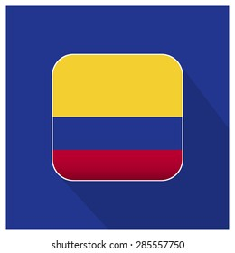 Long shadow Colombia flag Button