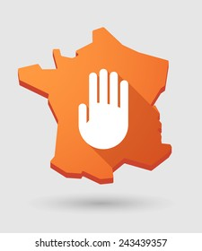 Long shadow France map icon with a hand