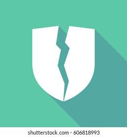Long shadow illustration of  a broken shield