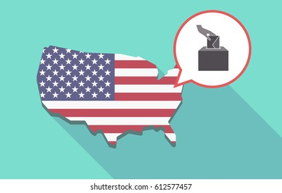 Long shadow map of United States of America and its flag with  a hand inserting an envelope in a ballot box