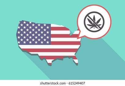 Long shadow map of United States of America and its flag with  a marijuana leaf  in a not allowed signal