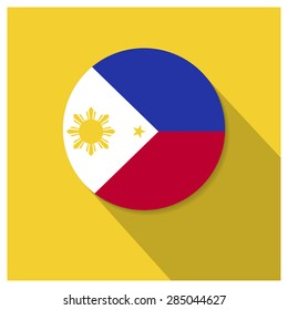 Long shadow Philippines flag Button