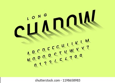 Long shadow style font, alphabet letters and numbers vector illustration
