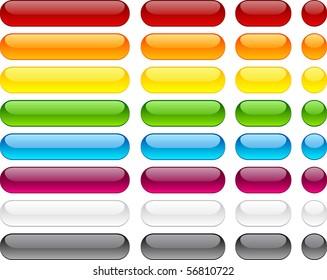 Long and short pill buttons. Vector.