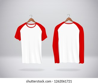 1af71e2f30aa3 Long and short sleeve Baseball T-Shirts Mock-up clothes hanging isolated on  wall