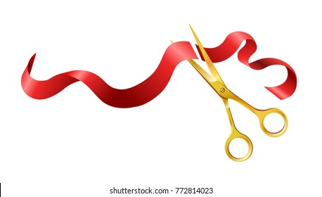 Long silk red ribbon and gold shiny scissors