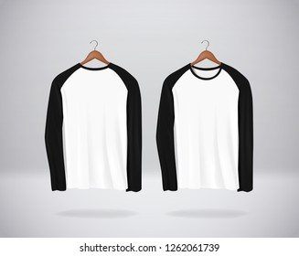 Long sleeve  Baseball T-Shirts Mock-up clothes hanging isolated on wall, blank front and rear side view.