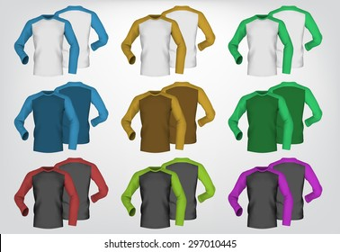 Long sleeve blank two colored t-shirt template.