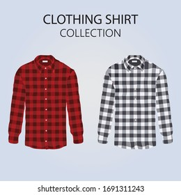Long sleeve checked shirt, illustration collection. Vector red and black plaid shirt.