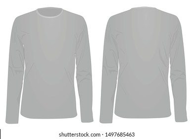 Long sleeve grey t shirt. vector illustration