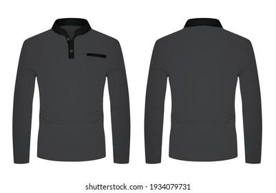 Long sleeve grey t shirt. vector