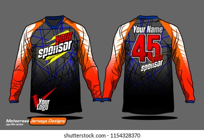 Long sleeve Motocross jerseys t-shirts vector,  graphic design for football uniforms, unisex cycling, navy submariner and sportswear.