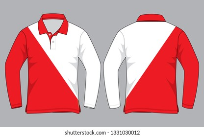 Long Sleeve Polo Shirt Design  : Red / White Color