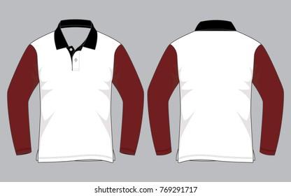 Long sleeve polo shirt design (White/Crimson)
