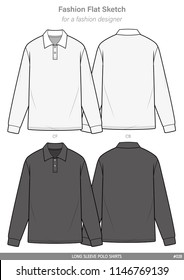 LONG SLEEVE POLO SHIRTS FASHION FLAT SKETCHES technical drawings teck pack Illustrator vector template