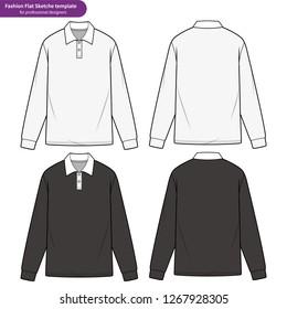 LONG SLEEVE POLO SHIRTS fashion flat technical drawing template