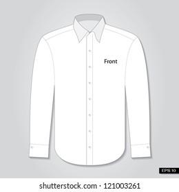 Long sleeve shirt front. Vector