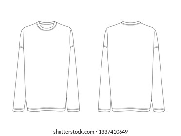 Long sleeve shirt vector template isolated on a white background. Front and back view. Outline fashion technical sketch of clothes model.