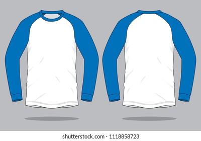 Long Sleeve Slope Shoulde  T-shirt Design : White / Blue
