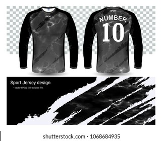Long sleeve soccer jerseys t-shirts mockup template, graphic design for football uniforms, motocross, unisex cycling, navy submariner and sportswear, Easily to change logo, name, color in your styles.