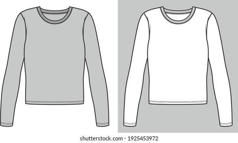 Long sleeve t shirt design. long sleeve t shirt fashion flat sketch