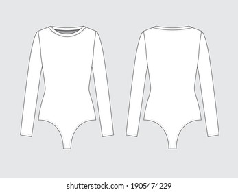 long sleeve thong bodysuit, front and back, drawing flat sketches with vector illustration.