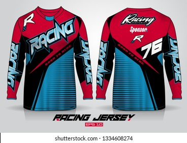 Long sleeve t-shirt design template, Motorcycle racing jersey mockup. uniform front and back view. Vector
