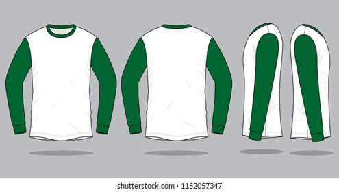 Long Sleeve T-shirt Design  White-Dark Green Vector.Front, Back And Side View.