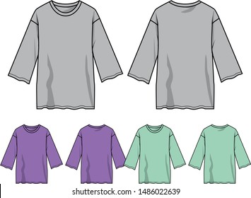 long sleeve t-shirt for girl vector template