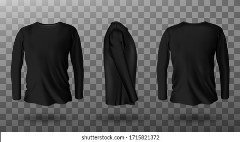 Long sleeve t-shirt for man front, side and back view. Vector realistic mockup of male black tee, sweater, sport or casual apparel with round neck isolated on transparent background