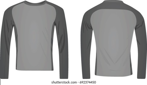 Long sleeve two color t shirt. vector illustration