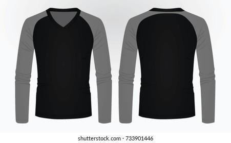 Long sleeve V neck t shirt. vector illustration