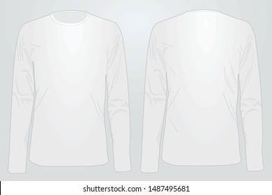 Long sleeve white t shirt. vector illustration