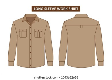 Long sleeve work shirt with two chest pocket template set back and front
