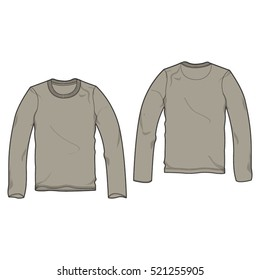 Long Sleeved Round Neck Shirt Template