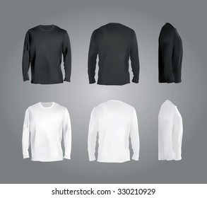 Long sleeved t-shirt templates collection, front, back, side views. Black and white colors blank realistic shirts on gradient background, vector eps10 illustration.