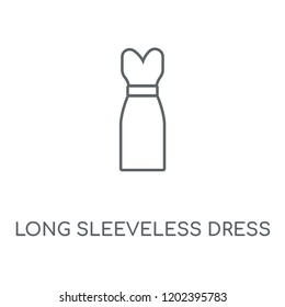 Long Sleeveless Dress linear icon. Long Sleeveless Dress concept stroke symbol design. Thin graphic elements vector illustration, outline pattern on a white background, eps 10.