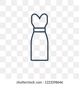 Long Sleeveless Dress vector outline icon isolated on transparent background, high quality linear Long Sleeveless Dress transparency concept can be used web and mobile